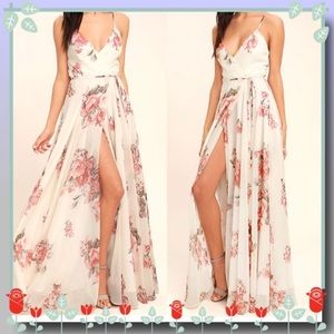 Elegantly Inclined Floral Print Wrap Maxi Dress